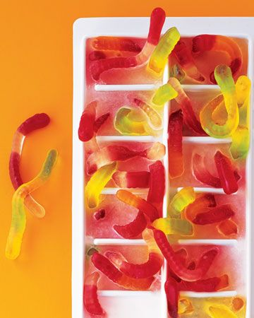 Gummy worm ice cubes - infest drinks as they melt...perfect for a halloween punch