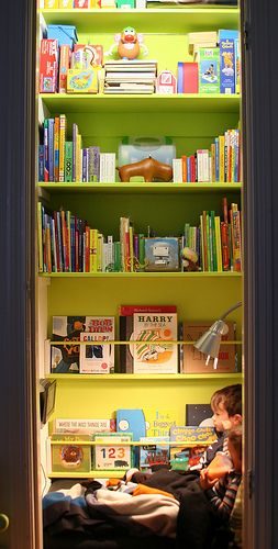 closet made into kid's reading room