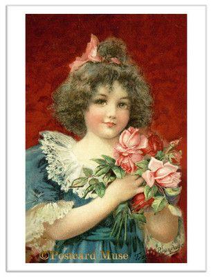 BRUNDAGE GIRL WITH ROSES Vintage Postcard Image Greeting