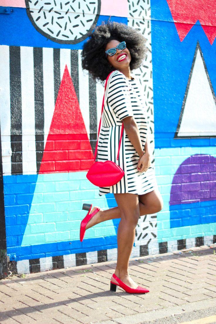 topshop stripes dress, asos kiss purse, topshop pointy heels, low heels, cat eyes sunglasses, afro,