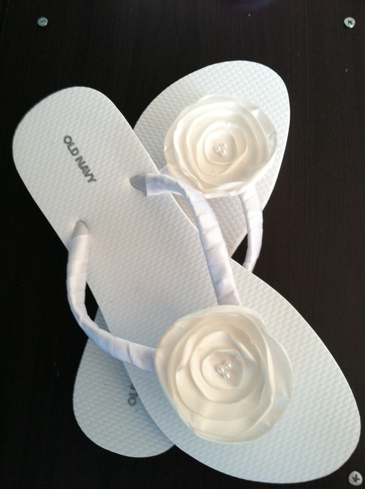 ivory Bridal Flip Flops / Wedding Flip Flops / Design Your Own / Flower Flip Flops / Bridal Flip Flop / Bridal Party Flip Flops. $19.99, via Etsy.