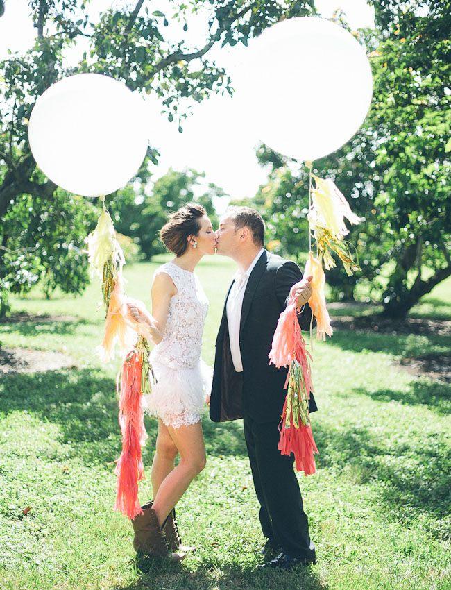 Wedding couple with fringe balloons