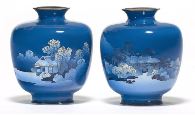 A pair of fine cloisonné enamel vases By the workshop of Namikawa Yasuyuki (1845-1927), Meiji period (late 19th century)