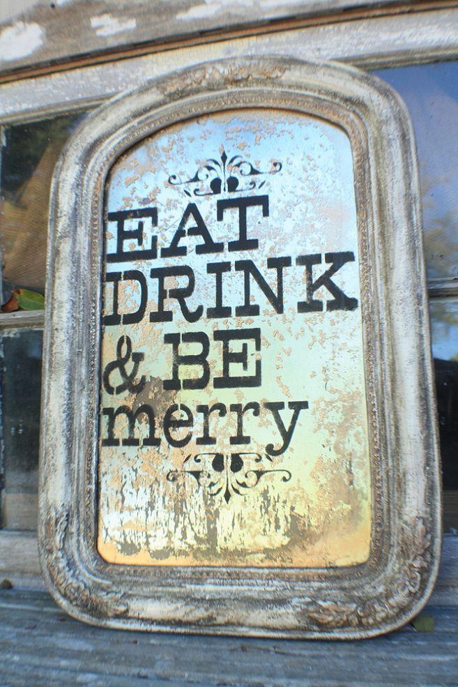 vintage mirror turned festive kitchen sign