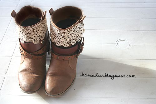 diy lace embellished boots by: I Have a Deer!