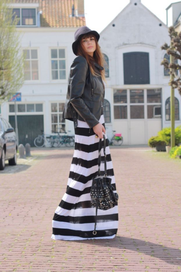 Nautical Style,  Long Navy Dress in Combination With Black Leather Jacket