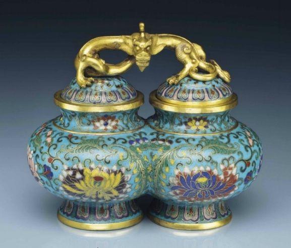 A rarecloisonnéenamel double jar and cover, 18th century