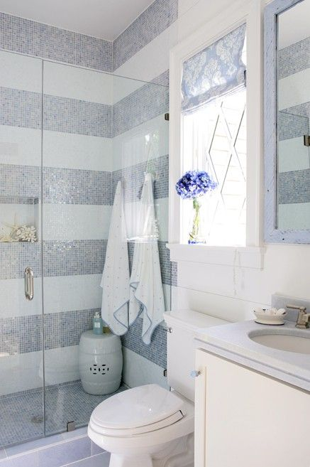 striped tile shower