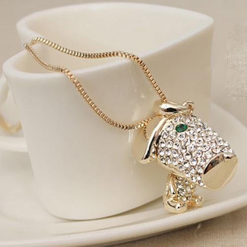 Nifty Full Rhinestones Golden Sweater Necklaces  Item Code:#LGF48+Golden      US$12.60