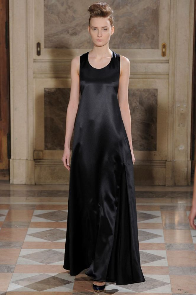 Bouchra Jarrar haute couture 2014, leather dress, black maxi dress