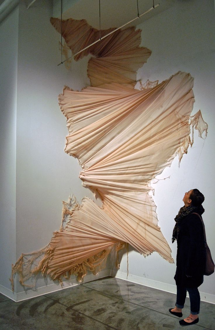 Carlie Trosclair pours fabric down walls - Wildfox inspiration for artists - Inspiration for artists from Wildfox Couture