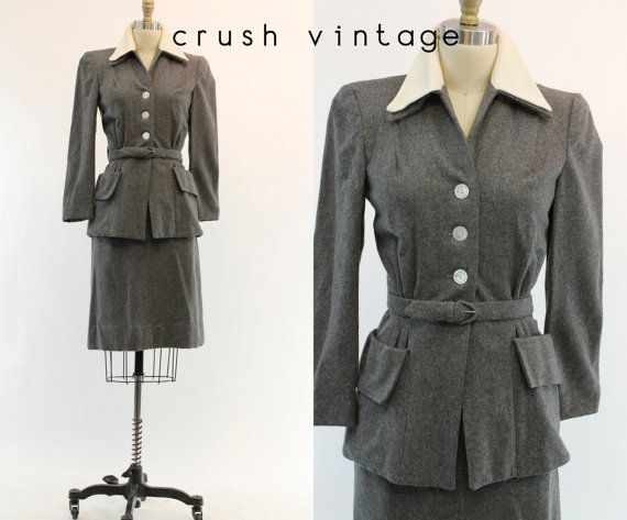 40s Stone Grey Wool Suit XS Small / 1940s Fall by CrushVintage