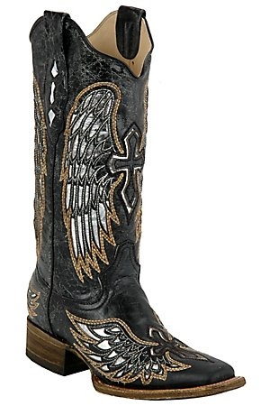 Cowboy Boots! These boot have a SILVER inlay...Perfect to wear with turquoise and silver jewelry! I love them! Corral® Ladies Distressed Black w/Winged Cross Silver Inlay Square Toe Western Boot