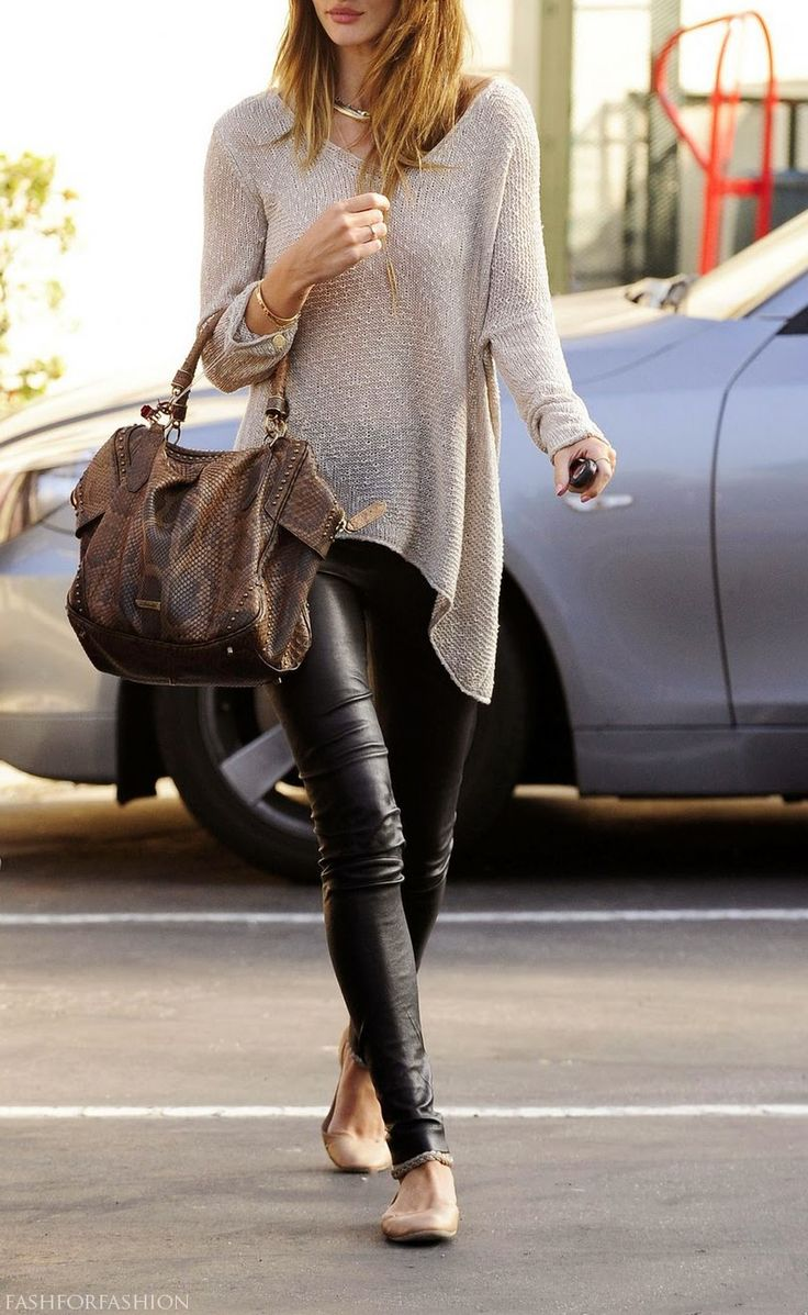 Rosie Huntington-Whitely. Leather skinnies, taupe open knit draped sweater, killer brown leather bag, great flats.