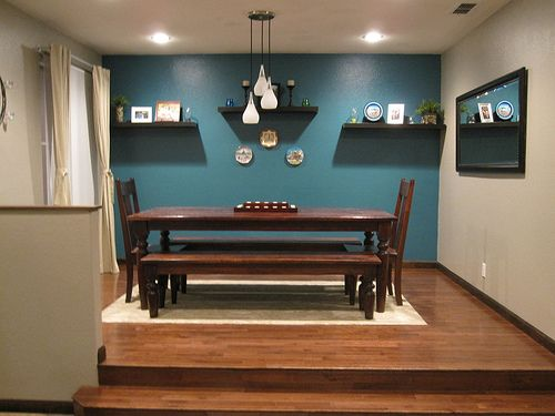 Teal Accent Wall In Dining Room
