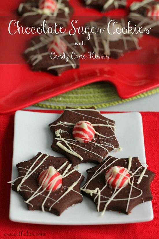 Chocolate Sugar Cookies with Candy Cane Kisses