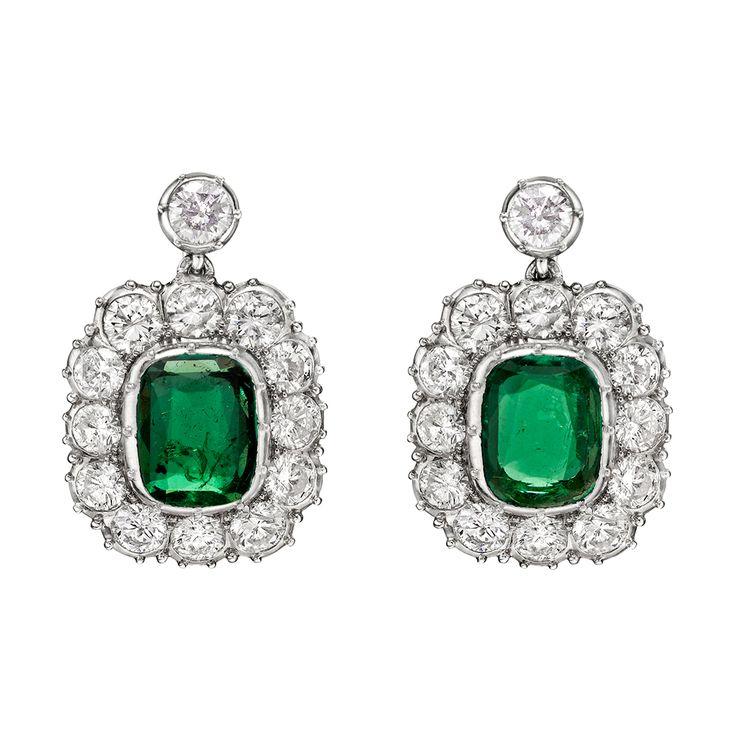 a88d96826 Estate Betteridge Collection Emerald & Diamond Drop Earrings
