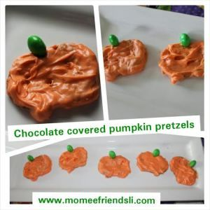 Chocolate Covered Pumpkin Pretzels How cute are these for kids and adults for your Fall parties?  These pumpkin pretzels don't taste like pumpkin at all but are definitely a sweet treat.