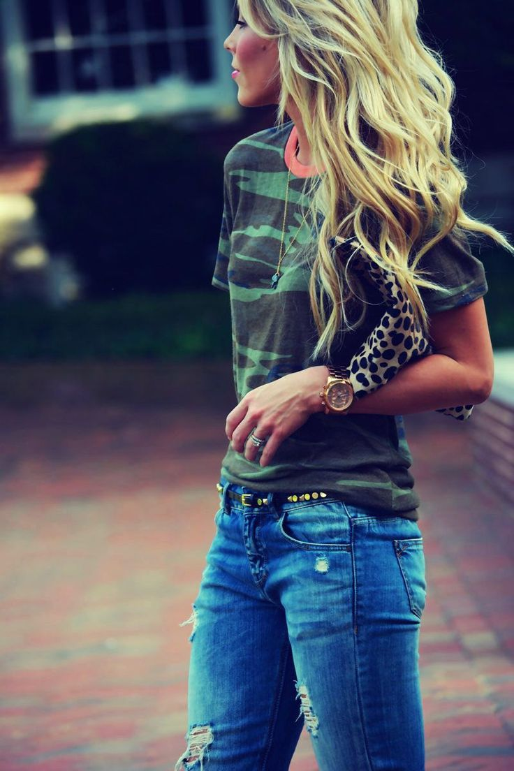 military print with jeans (y)