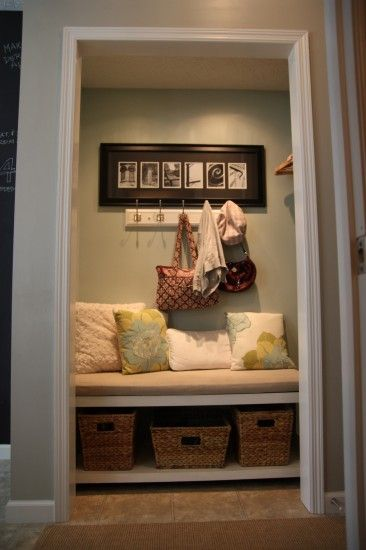 Hall Closet turned mini mud closet