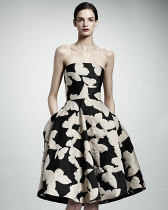 Strapless Butterfly Jacquard Dress