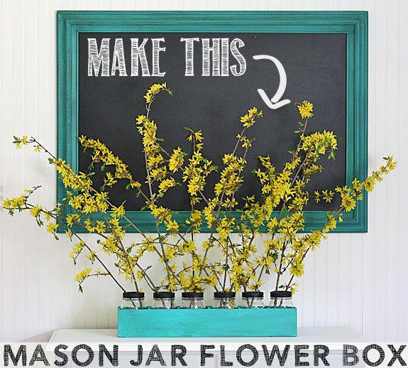 Mason Jar Flower Box Centerpiece tutorial