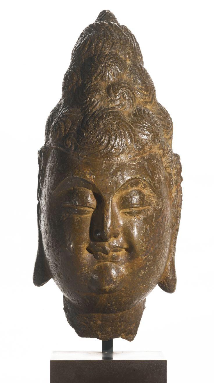 A stone head of a bodhisattva, China, Tang Dynasty
