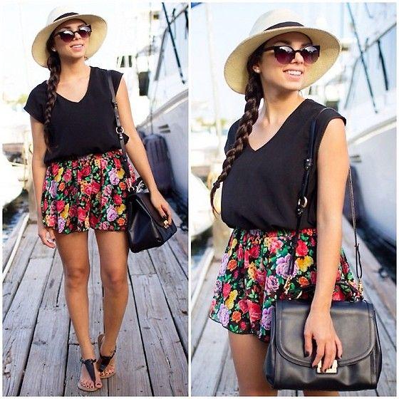 Furor Moda Top, 2020ave Floral Shorts, Brahmin Bag, Nine West Shoes, Ole Panama Hat