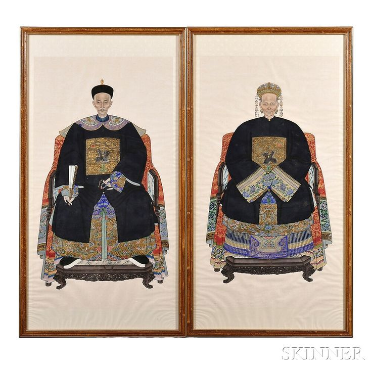 Pair of Ancestral Portraits of a Couple, China, 20th century
