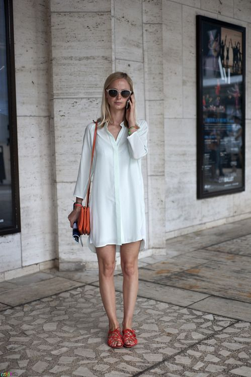 French Voguettes *simple summer style...white shirt dress....red leather sandals...red leather bag