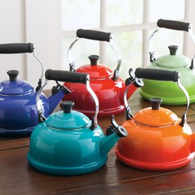 le creuset tea kettle, my vintage enamel tea pot has a crack in it, maybe I should look into getting one of these to replace it!