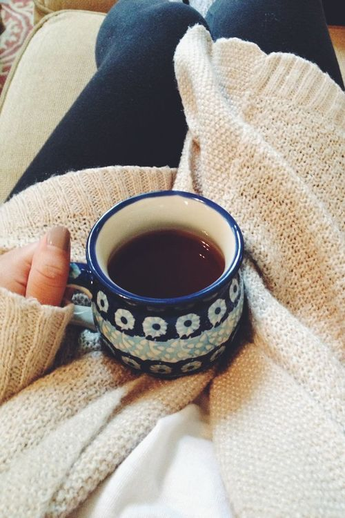 Perfect winter evening. Hot tea and a big warm sweater.