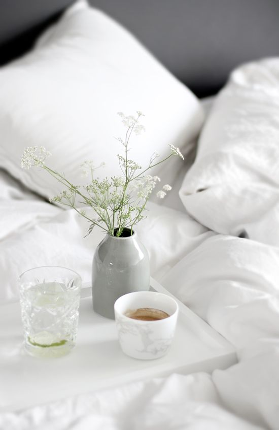 life is simple, tea, bed, White flowers