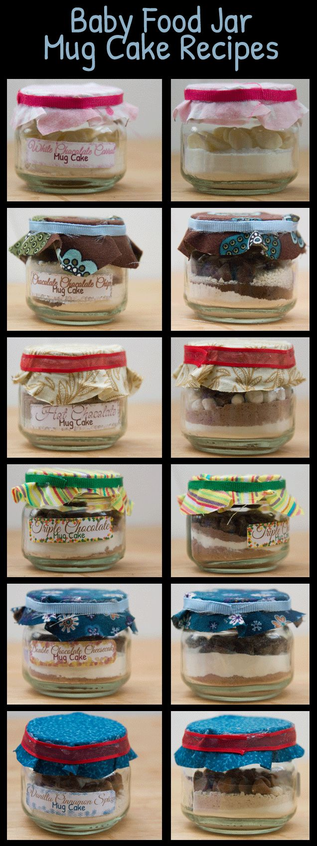 Mug cake recipes: use baby food jars to package them in. Uses cake mix.