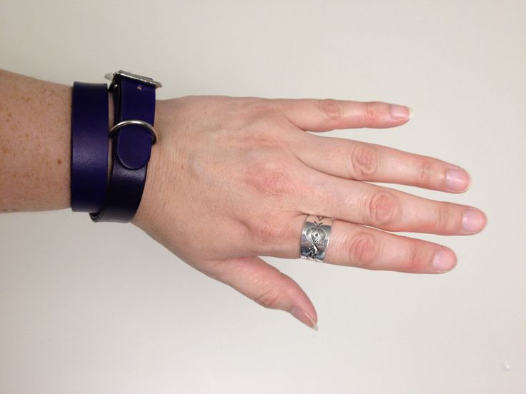 Purple leather double wrap bracelet & sterling silver ring