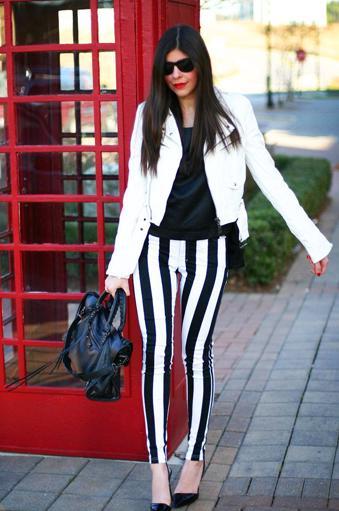 black and white striped pants and white jacket