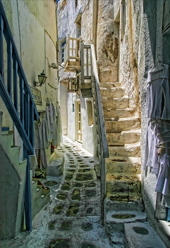 Athens, Greece. Anafiotika neighbourhood right under the Acropolis. It was first inhabited by islanders that settled in Athens in the 19th cent., comng from the Anafi island (located in the Cyclades, which include Mykonos and Santorini). Hence, the architecture of this Old Athens neighbourhood transports you to the islands. And it's very quiet though yards away from the tourist packed Plaka