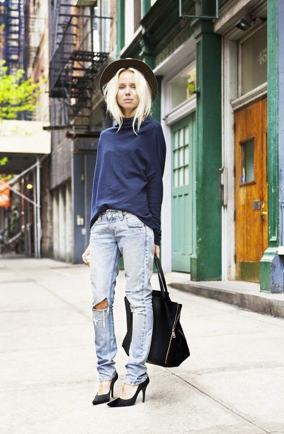 Accessorize your boyfriend jeans ensemble with a fedora, tote, and pointy-toe pumps.