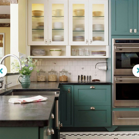Teal Cabinets Thinking Doing Lower Kitchen