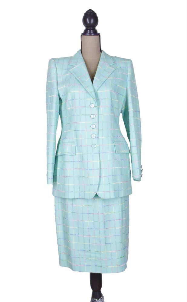 escada skirt suit pastel colors perfect for spring sunday