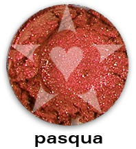 """PASQUA is a brilliant warm red frost with sparks of red.    CHIARA is an Aromaleigh v2 stock collection, inspired by the range of best-selling, frost eyeshadows of Aromaleigh v1, the """"Gothic Lolita"""" Eyeshadow collection.    http://www.aromaleigh.com/newcshjetomi.html"""