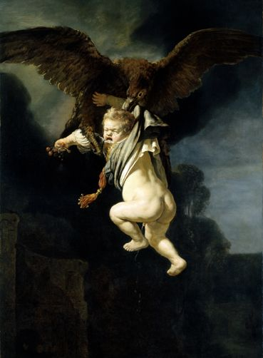 Rembrandt, Ganymede in the clutches of an eagle, 1635, oil on canvas, 177 x 129 cm, Gemäldegalerie Alte Meister © State Art Collections in D ...
