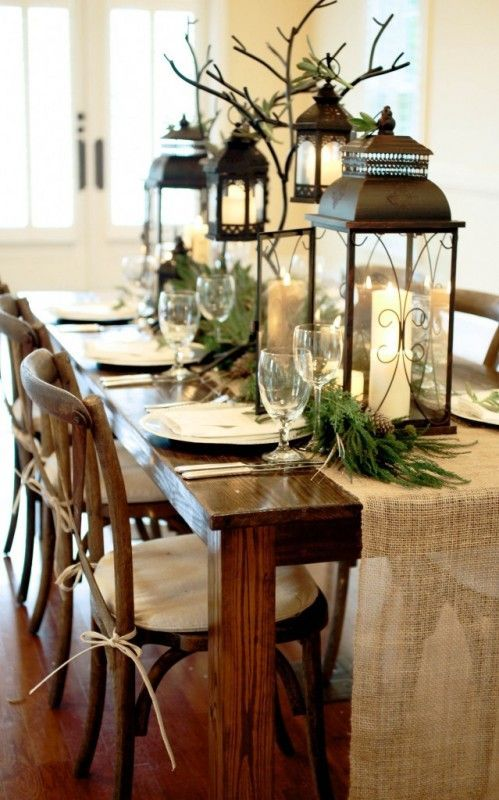 Top Christmas Tables of 2013 #christmas #table #tablescapes. Love how they hung lanterns from the branches.