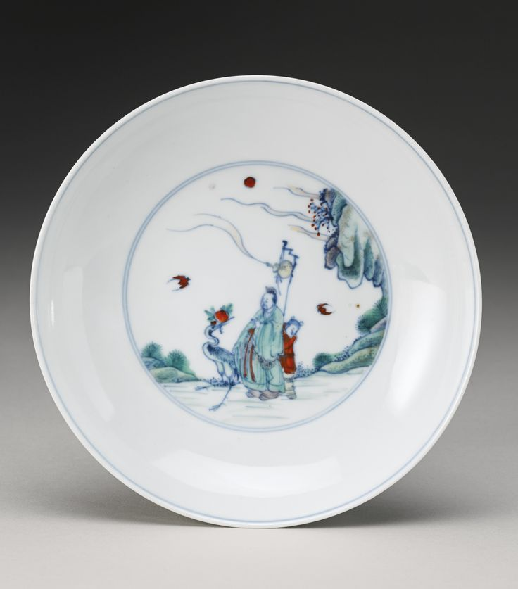 A doucai 'Scholar and Crane' dish, Yongzheng mark and period