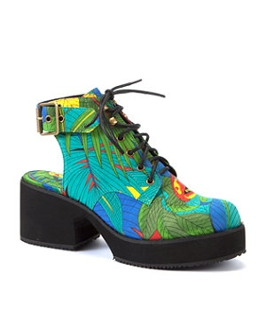null (Multi Col) Shellys Blue Tropical Print Alexa Cut Out Boots | 273692099 | New Look