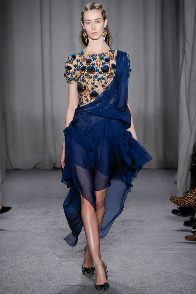 marchesa fall 2014 rtw blue gold chiffon embellished dress