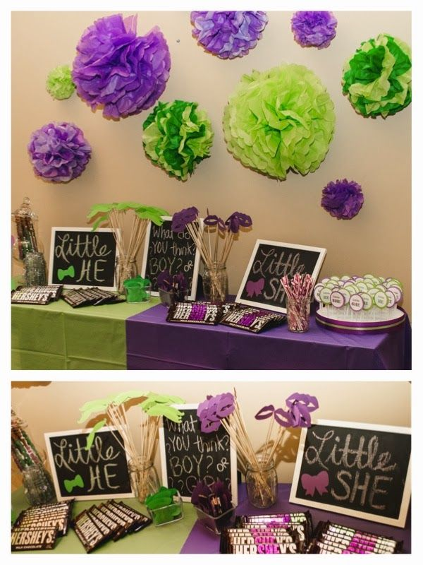 Green and Purple - Little HE or Little She gender reveal.
