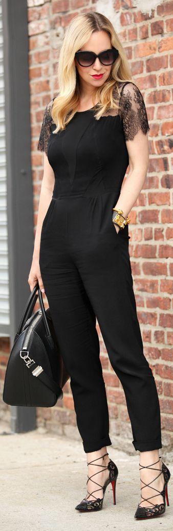Sandro Mulheres Negras costurado Lace Shoulder Jumpsuit por Brooklyn Loiro