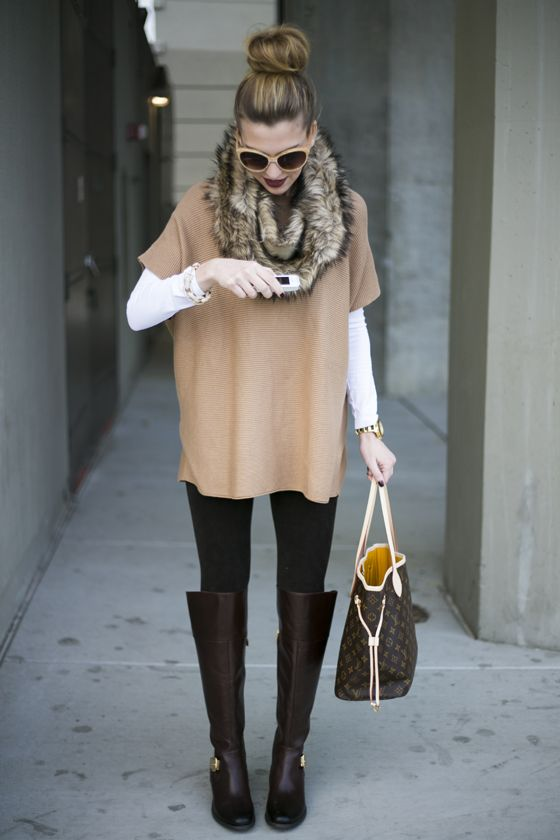 wishing for winter :: white long sleeve t, camel poncho sweater, black leggings, fur cowl, chocolate boots, oversized brown purse, peach sunglasses