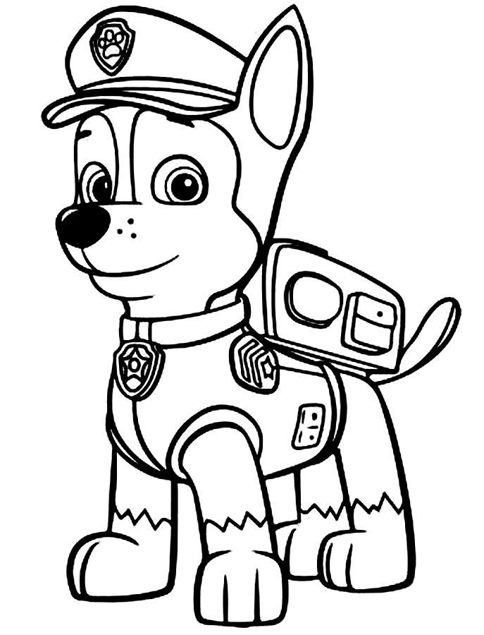chase coloring page paw patrol party pinterest